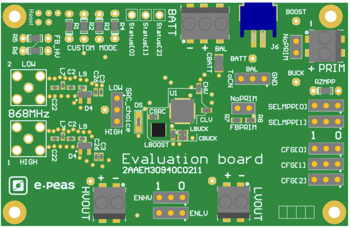 Evaluation board for AEM30940 - RF harvesting